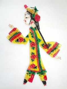 Chinese Shadow Puppet Play Puppetry **cm Asian Handicraft Folk Carving Art #103