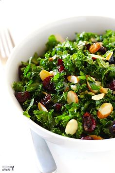 Kale Salad with Warm Cranberry Vinaigrette | Gimme Some Oven