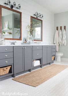 Lake House Master Bathroom Makeover - The Lilypad Cottage. Love the gray vanity cabinets Wood Bathroom, Grey Bathrooms, Bathroom Colors, Bathroom Flooring, Bathroom Ideas, Bathroom Makeovers, Bathroom Lighting, Vanity Bathroom, Bath Ideas