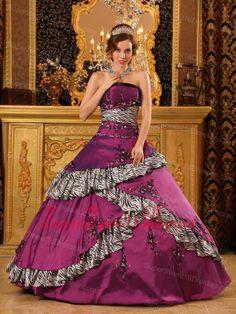 Pretty Purple Sweet 16 Quinceanera Dress Strapless Taffeta Embroidery
