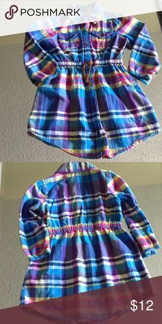 Girls plaid shirtdress Perfect with riding boots for fall, cinched elastic waist, colorful blue, pink, purple, and yellow plaid Old Navy Dresses Casual