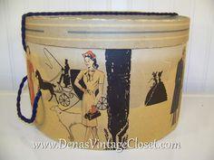 40s Vintage Hat Box by DenasVintageCloset.com  http://denasvintagecloset.com/cart/store/p/1225-Vintage_40s_Hat_Box_Silhouettes.html