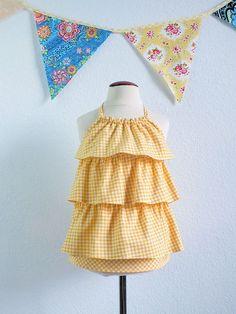Girls yellow gingham halter top in designer by TheMulberriBush