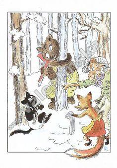 ilustrace z Veselé příhody kozy Lujzy a kocoura Bobka,  Josef Lada