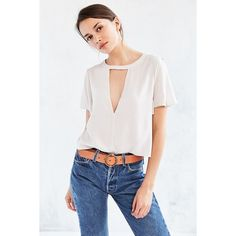 Silence + Noise Deep-Cut Blouse (63 CAD) ❤ liked on Polyvore featuring tops, blouses, cut out crop top, cutout crop top, boxy crop top, crop blouse and plunge crop top