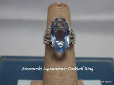 Swarovski Aquamarine Element Cocktail Ring by BobsFashionJewelry on Etsy