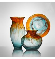Design Decorative Color Glass Vase And Plate