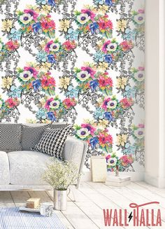 Watercolor Flowers Wallpaper Removable Wallpaper Tropical