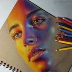 Colorful Portrait Drawings - Lucy Francis 🌞 Illustrating images using only. - Colorful Portrait Drawings – Lucy Francis 🌞 Illustrating images using only pad are only for - Portrait Au Crayon, Pencil Portrait Drawing, L'art Du Portrait, Colored Pencil Portrait, Colored Pencil Drawings, Color Portrait, Pencil Sketching, Pencil Painting, Coloured Pencils