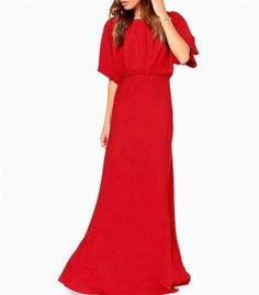 Long dress with draped neckline and back