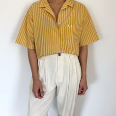 Vintage mustard striped fun spring summer cotton blend paper thin button up s-l relaxed $38 + shipping SOLD