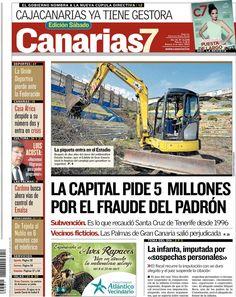 Los Titulares y Portadas de Noticias Destacadas Españolas del 6 de Abril de 2013 del Diario Canarias 7 ¿Que le parecio esta Portada de este Diario Español?