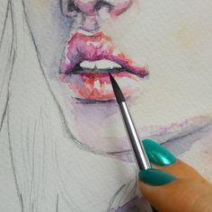 Любимые #губы #рисунок #акварель #живопись #портрет #watercolor #lips #painting #process #drawings