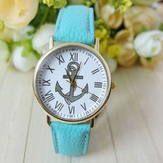Anchor watch with mint green straps