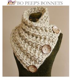 THE LANCASTER SCARF, Chunky Hand Knit Scarf in Oatmeal with Three Large Functional Buttons, Chunky Knit Cowl, Chunky Button Neck Warmer