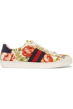 Gucci for NET-A-PORTER | New Ace floral-print canvas sneakers | NET-A-PORTER.COM