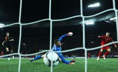 CR7 of Portugal scores his team's second goal past Maarten Stekelenburg of Netherlands during the Euro 2012. Portugal beat The Netherlands 2-1.