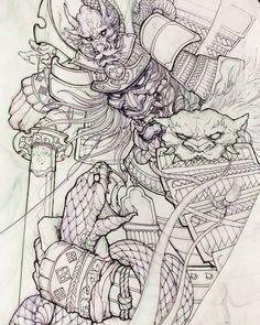 "4,853 curtidas, 33 comentários - David Hoang (@davidhoangtattoo) no Instagram: ""Samurai and snake. #chronicink #asiantattoo #asianink #irezumi #tattoo #sketch #illustration…"""