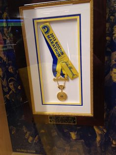 2013 Boston Marathon winners' medal, donated to city of Boston by 2013 men's winner Lelisa Desisa after attacks later that day. Photo property KMD, 4/20/15.