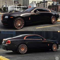 "Rolls Royce Wraith on the @lexaniofficial Rose Gold 24"" wheels x @ym_motors…"