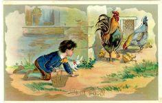 Glad Påsk pojke stjäl ägg i guld tryck postad 1912