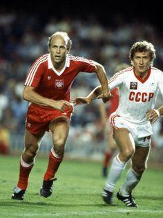 Grzegorz Lato (Poland, 1971–1984, 100 caps, 45 goals) and Sergey Borovsky (USSR, 1981–1985, 21 caps, 0 goal).