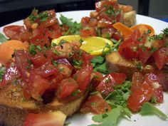 Bruschetta and more. Bruschetta, Salsa, Mexican, Ethnic Recipes, Food, Products, Meal, Salsa Music, Restaurant Salsa