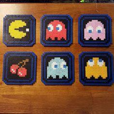 Pac-Man coaster set perler beads by dcs8bit