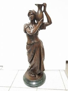 Jean Gautherin (1840-1890) - large bronze sculpture of a standing woman with water jug - France - late 19th century - Catawiki