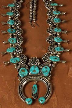 OLD Navajo Squash Blossom Necklace, turquoise jewelry