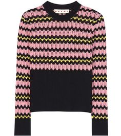 Marni - Open-knit wool-blend sweater - Keeping in line with the house's offbeat aesthetic, the wool blend is crafted in a zigzag design of pink, yellow and black. The open knit makes this style a layering favourite. - @ www.mytheresa.com