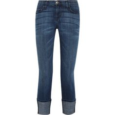 Current/Elliott The Cuffed mid-rise skinny jeans ($100) ❤ liked on Polyvore featuring jeans, pants, dark denim, dark denim jeans, button-fly jeans, current elliott skinny jeans, mid rise skinny jeans and cuff skinny jeans