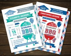 BBQ Graduation Invitation   Barbecue Party by PaperSunStudio