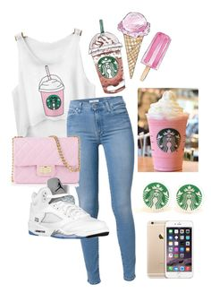"""Starbucks outfit ♥️"" by christine-caraballo ❤ liked on Polyvore"