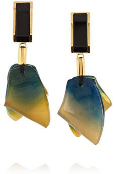 Marni's resin and tie dye-effect horn clip earrings. Perfect for your statement daytime looks.