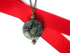 Natural Stone Necklace Pendant Wire Wrapped Brass by Hendywood, $22.00