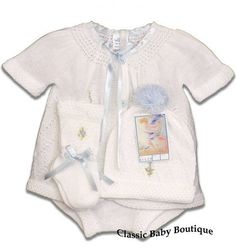 NWT Will/'beth White Blue Knit Welcome 4pc Set Preemie Baby Boys Pom Hat Booties