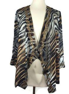 NEW Chico's Size 0 4/6 $129 Embellished Zebra Jacket Womens Top Draped Ink NWT #Chicos #Jacket #EveningOccasion