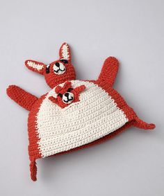 Take a look at this Bachik Brick Red Kanga & Roo Beanie on zulily today! Crochet Kids Hats, Hand Crochet, Crochet Toys, Crochet Wraps, Wooly Hats, Knitted Hats, Baby Lovies, Novelty Hats, Cute Hats