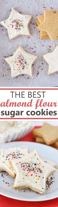 The Best Almond Flour Sugar Cookies! Soft in the middle and crispy on the edges. Easy to roll out and perfect for cut-outs! Sugar Free Cookie Recipes, Best Gluten Free Recipes, Gluten Free Sweets, Gluten Free Cooking, Best Sugar Cookies, Almond Flour Recipes, Almond Flour Desserts, Almond Flour Cakes, Coconut Flour