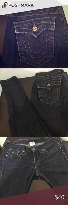 True Religion Stretch Embellished Dark Skinny 27 True Religion. Gently used - they look new. Crystal Embellished front and back. Dark wash skinny jeans. My favorite thing about these is the stretch they have and they are not super low. Women's size 27. Made in the USA 99% cotton 1% spandex. True Religion Jeans Skinny