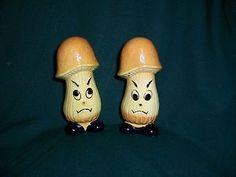 Vintage Angry Mushrooms Salt & Pepper Shakers.  Japan - add to the list of things that look like penises....