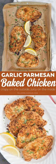 Get dinner on the table quick with my Crispy Garlic Parmesan Baked Chicken! It… Get dinner on the table quick with my Crispy Garlic Parmesan Baked Chicken! It's crunchy and packed with flavor and perfect for busy weeknights. Crispy Baked Chicken, Breaded Chicken, Boneless Chicken, Roasted Chicken, Baked Garlic Parmesan Chicken, Baked Chicken Cutlets, Parmesan Pasta, Baked Chicken Breast, Chicken Salad