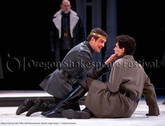 Oregon Shakespeare Festival. HENRY V (2012): John Tufts, Raffi Barsoumian, Russell Lloyd. Photo: T. Charles Erickson.