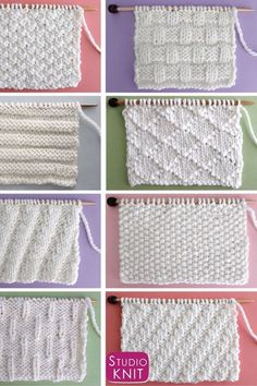 Knit and Purl Stitch Patterns Which texture design is your favoite? Easy Knit Stitch Patterns for Beginning Knitters by Studio Knit with Written Instructions and Charts Strickmuster z.Knit Stitch Patterns for Absolute Beginning Knitters patterns afgh Knitting Stiches, Easy Knitting Patterns, Knitting Charts, Loom Knitting, Free Knitting, Knitting Projects, Crochet Patterns, Knit Stitches, Knitting Videos