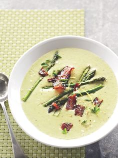 This soup is good any time of year—especially on a rainy day. Asparagus, potatoes, and a little sprinkling of bacon make this a crowd-pleasing dinner.