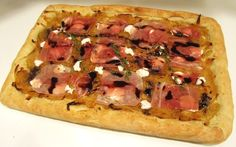 Caramelized Onion Flatbread with Prosciutto, Goat Cheese, and Balsamic Reduction Recipe