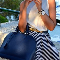 love the bag, love the skirt, love the whole look.  (Alma MM Handbag by Louis Vuitton in blueberry)