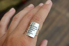 """Own Your Statement Ring by Dreaming Tree Creations - You can put any words - this one reads """"do more of what makes you happy"""""""