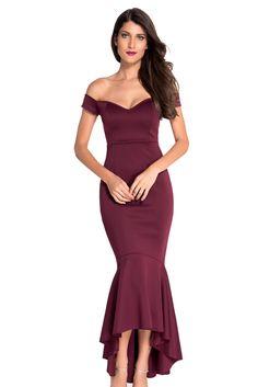 Maroon Off-shoulder Mermaid Jersey Evening Dress